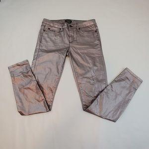 Bebe Metallic Jeans Painted Skinny Silver Pearl